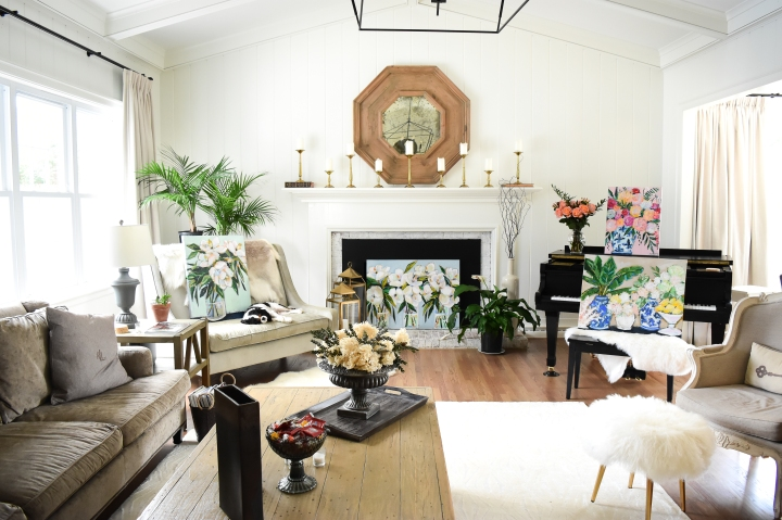 floral paintings in fixer upper living room