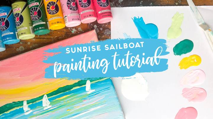Easy Acrylic Painting Tutorial – Sunrise Sailboats