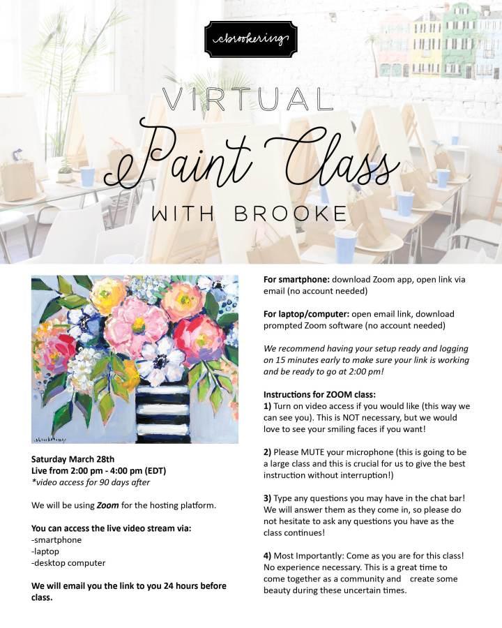 Virtual Painting Class, 3/28/20 | Supply List &Info